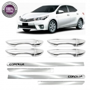 Kit Apliques Cromados Maçanetas e Friso Lateral P/ Toyota Corolla 2015 16 17