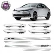 Kit Apliques Cromados Maçanetas e Friso Lateral P/ Toyota Corolla 2018 2019