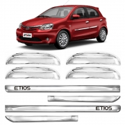 Kit Apliques Cromados Maçanetas e Friso Lateral P/ Toyota Etios 14 2015 16 17 18 19 20 21