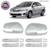 Kit Apliques Cromados Retrovisores e Maçanetas P/ Toyota Corolla 2012 2013 2014 C/ Pisca