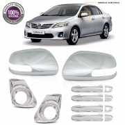 Kit Apliques Cromados Retrovisores Maçanetas Grade e Moldura Milha P/ Toyota Corolla 2012 2013 2014 C/ Pisca