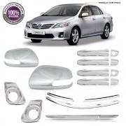 Kit Plus Apliques Cromados P/ Toyota Corolla 2012 2013 2014 C/ Pisca