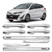 Kit Premium Apliques Cromados Maçanetas e Friso Lateral P/ Toyota Yaris Hatch 2018 19 20 21