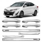 Kit Premium Apliques Cromados Maçanetas e Friso Lateral P/ Toyota Yaris Sedã 2018 19 20 21