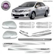 Kit Premium Apliques Cromados P/ Toyota Corolla 2012 2013 2014 C/ Pisca