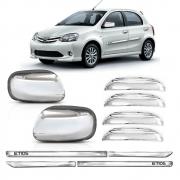 Kit Premium Apliques Cromados P/ Toyota Etios 2012 2013 S/ Pisca