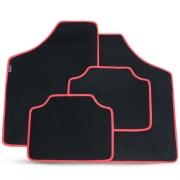 Tapete Automotivo Carpete Soft Preto Borda Vermelha Modelo A
