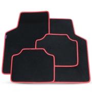 Tapete Automotivo Carpete Soft Preto Borda Vermelha Modelo B