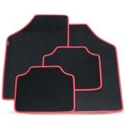 Tapete Automotivo Carpete Soft Preto Borda Vermelha Modelo C