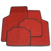 Tapete Automotivo Carpete Soft Vermelho Borda Preta Modelo B