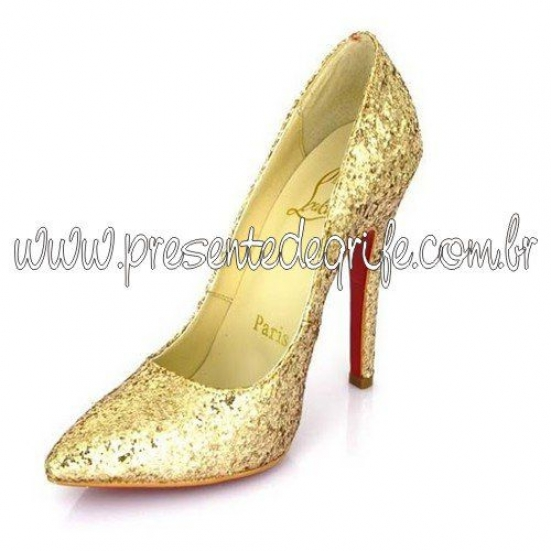 SAPATO CHRISTIAN LOUBOUTIN GOLD GLITTER PIGALLE