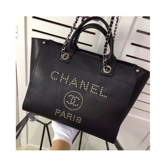 BOLSA CHANEL DEAUVILLE STUDDED LOGO TOTE BAG MG02974