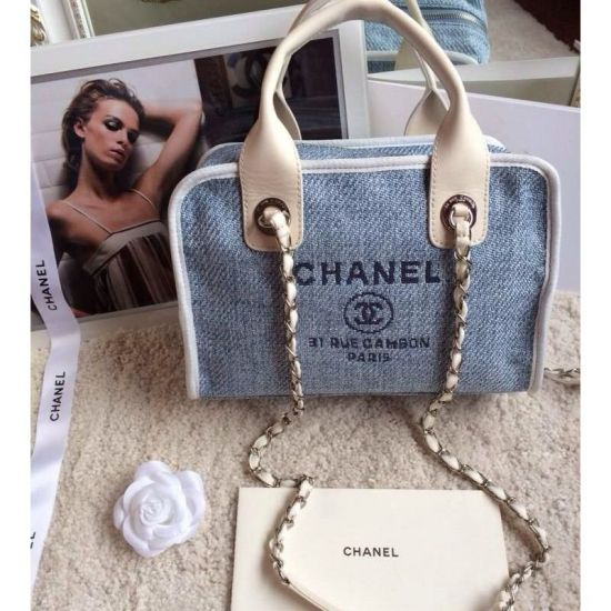 BOLSA CHANEL DENIM BOWLING BAG