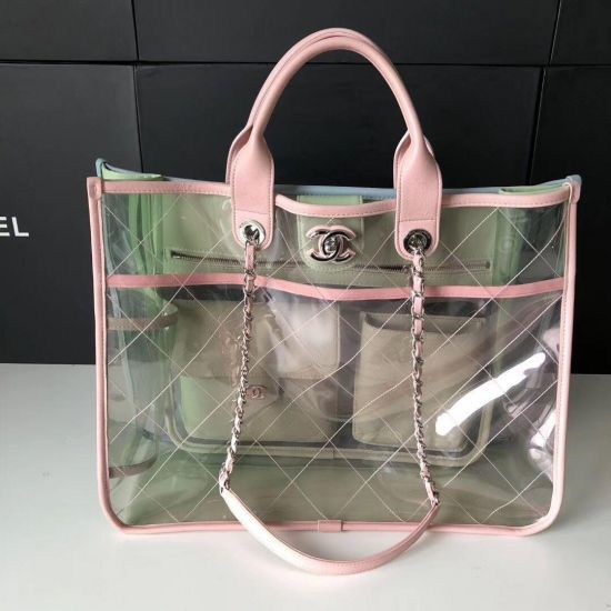 BOLSA CHANEL TRANSPARENT CALF LEATHER TOTE SHOPPING BAG 8048