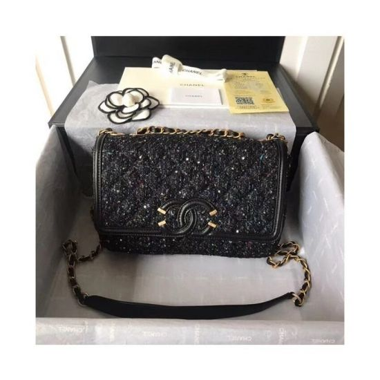 BOLSA CHANEL TWEED SHOULDER BAG 66870