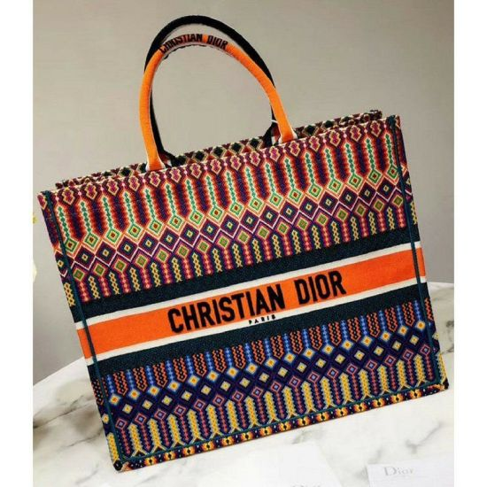 BOLSA DIOR EMBROIDERED CANVAS BOOK TOTE MULTICOLOR