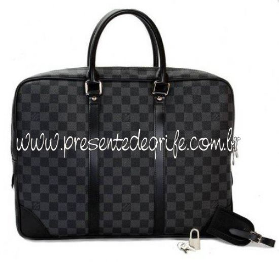 BOLSA PASTA LOUIS VUITTON PORTE DOCUMENTS VOYAGE BLACK DAMIER