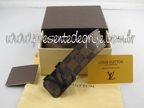 CINTO LOUIS VUITTON DAMIER EBENE BROWN BUCKLE