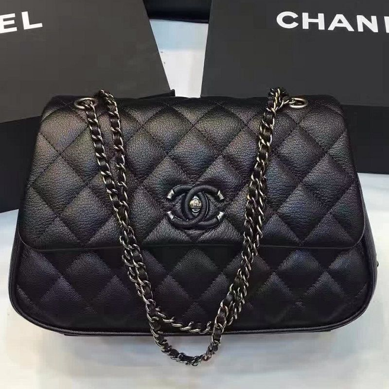 BOLSA CHANEL QUILTED CALFSKIN RUTHENIUM METAL FLAP BAG A98549
