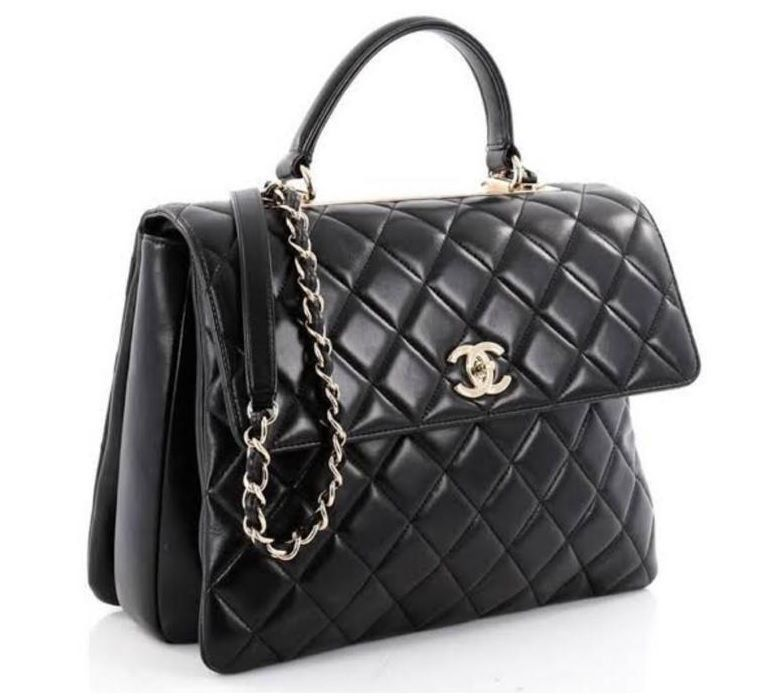 BOLSA CHANEL TOP HANDLE TRENDY QUILTED LAMBSKIN