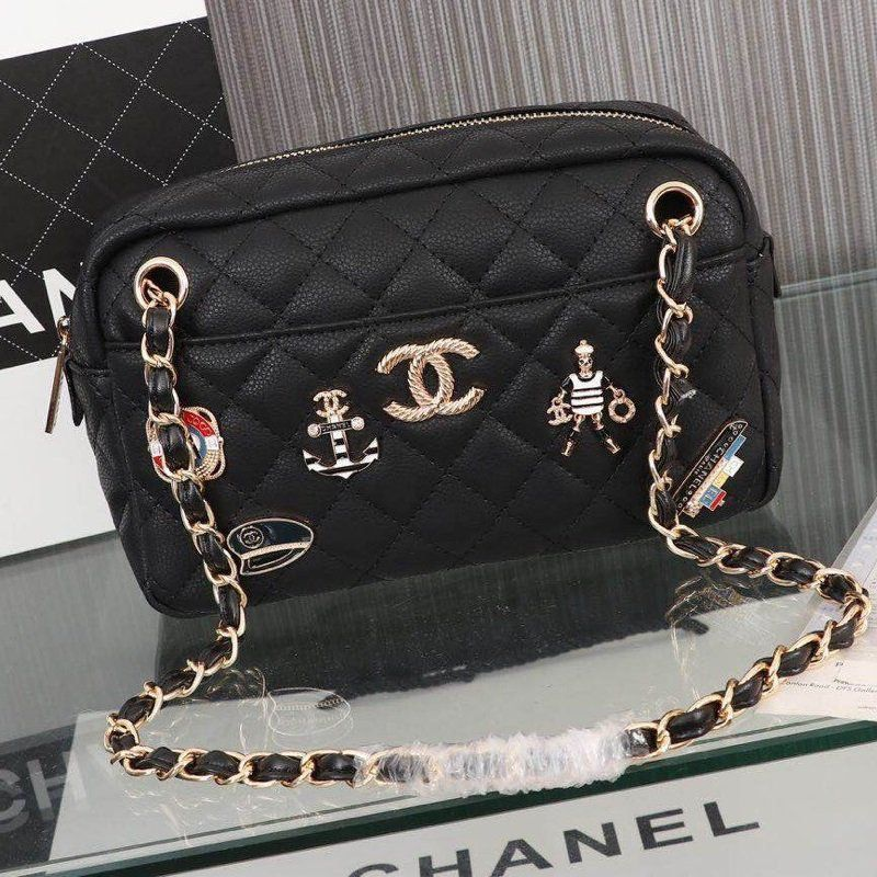 BOLSA CHANEL WOOL CHARMS CAMERA CASE BAG A91731