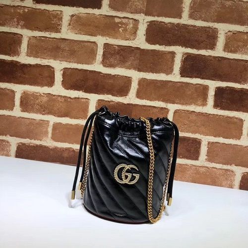 BOLSA GG MARMONT TORCHON MINI LEATHER BUCKET BAG