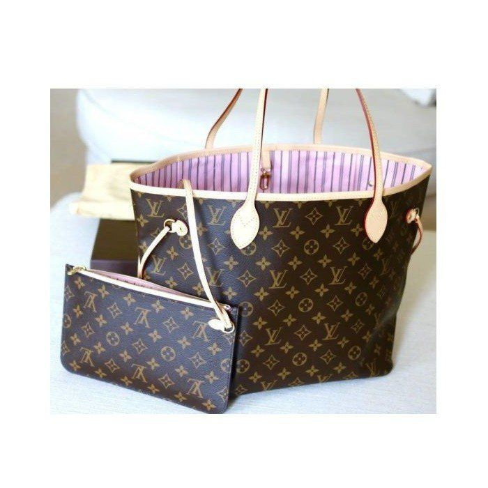 BOLSA LOUIS VUITTON NEVERFULL MONOGRAM ROSE BALLERINE
