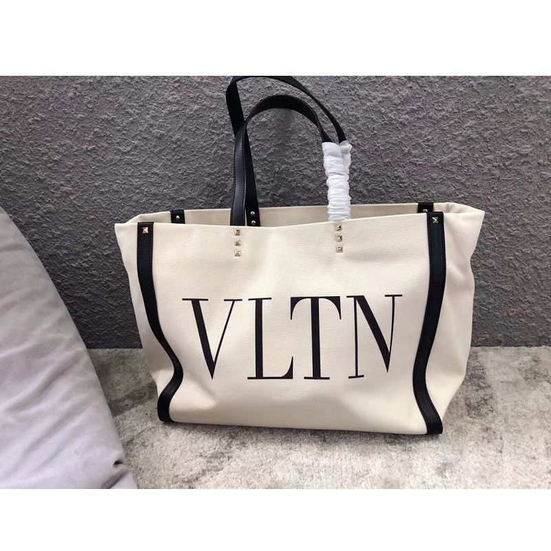 BOLSA VALENTINO ROCKSTUD CANVAS SHOPPING BAG V0978