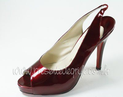 SAPATO CHRISTIAN LOUBOUTIN PEEP TOE PATENTED OPENED **OUTLET**