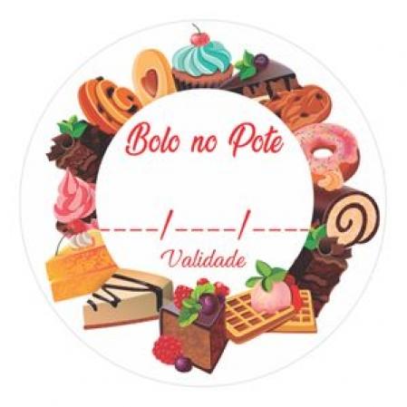 BOBINA ADESIVA BOLO NO POTE BRANCO C/ 100 UN DECORA DOCE
