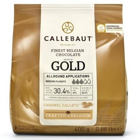 CHOCOLATE BRANCO CARAMELO GOLD GOTAS 400G CALLEBAUT