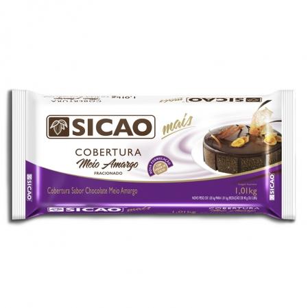 COBERTURA CHOCOLATE MEIO AMARGO BARRA 1,01KG SICAO