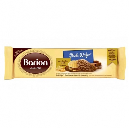 DISKWAFER WAFER COBERTO COM CHOCOLATE AO LEITE 65G BARION