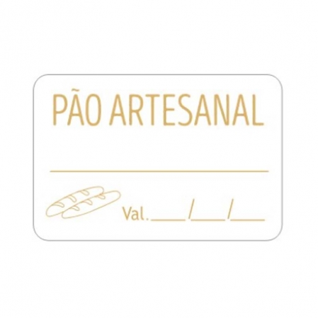 ETIQUETA QUADRADA PÃO ARTESANAL C/  VALIDADE 100 UN CARBER