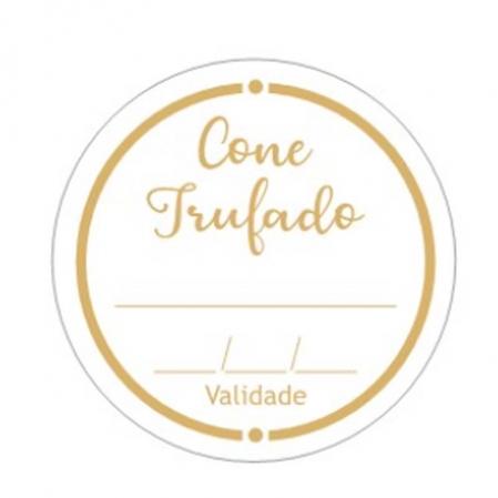 ETIQUETA REDONDA CONE TRUFADO C/  VALIDADE 100 UN CARBER
