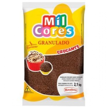 GRANULADO CROCANTE SABOR CHOCOLATE MIL CORES 2,1KG MAVALÉRIO