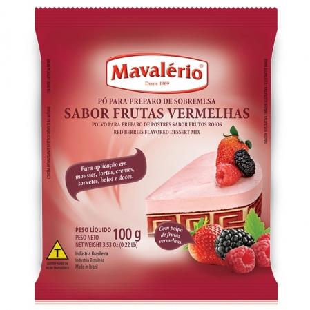 PÓ PARA PREPARO DE SOBREMESA SABOR FRUTAS VERMELHAS 100G MAVALÉRIO