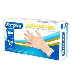 LUVA VINIL S/ PÓ TAM. P C/ 100 UN BOMPACK
