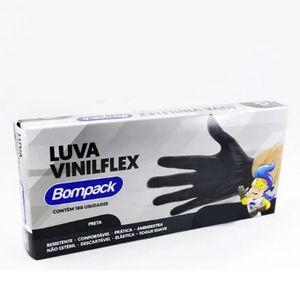 LUVA VINILFLEX S/ PÓ PRETA TAM. G C/ 100 UN BOMPACK