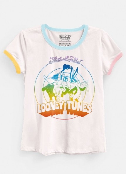 Camiseta Ringer Looney Tunes Personagens Rainbow