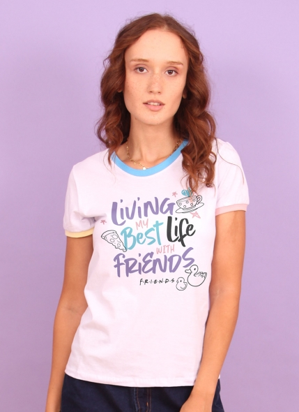 Camiseta Ringer Tricolor Friends Best Life With Friends