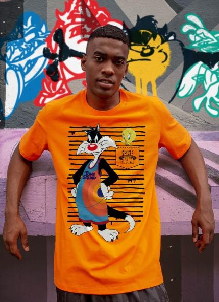 Camiseta Space Jam Frajola e Piu-Piu Listras