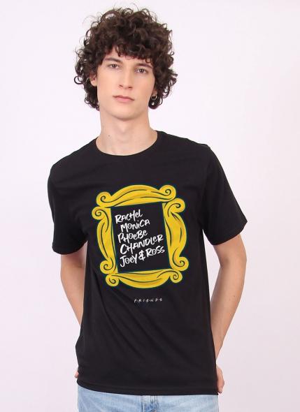 Combo Masculino Friends Moldura Nomes Camiseta + Caneca + Pôster