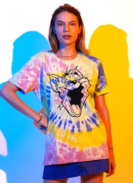 T-shirt Tom e Jerry Rostos Psicodélicos