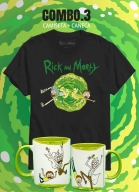 Combo 3 Rick And Morty Camiseta Saindo Portal + Caneca