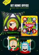 Kit Homeoffice Rick And Morty Capa de Notebook + Almofada + Caneca