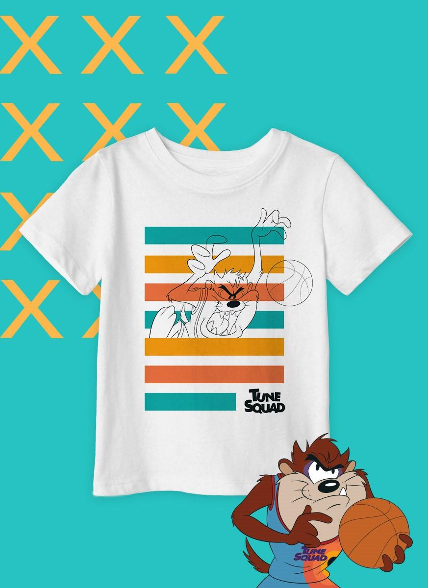 Camiseta Infantil Space Jam Tune Squad Taz