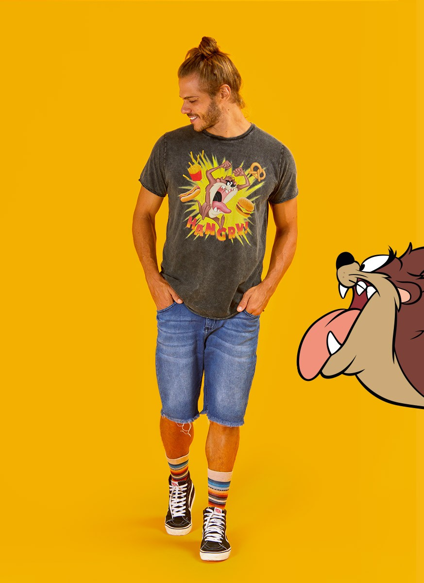 Camiseta Marmorizada Looney Tunes Taz Hangry