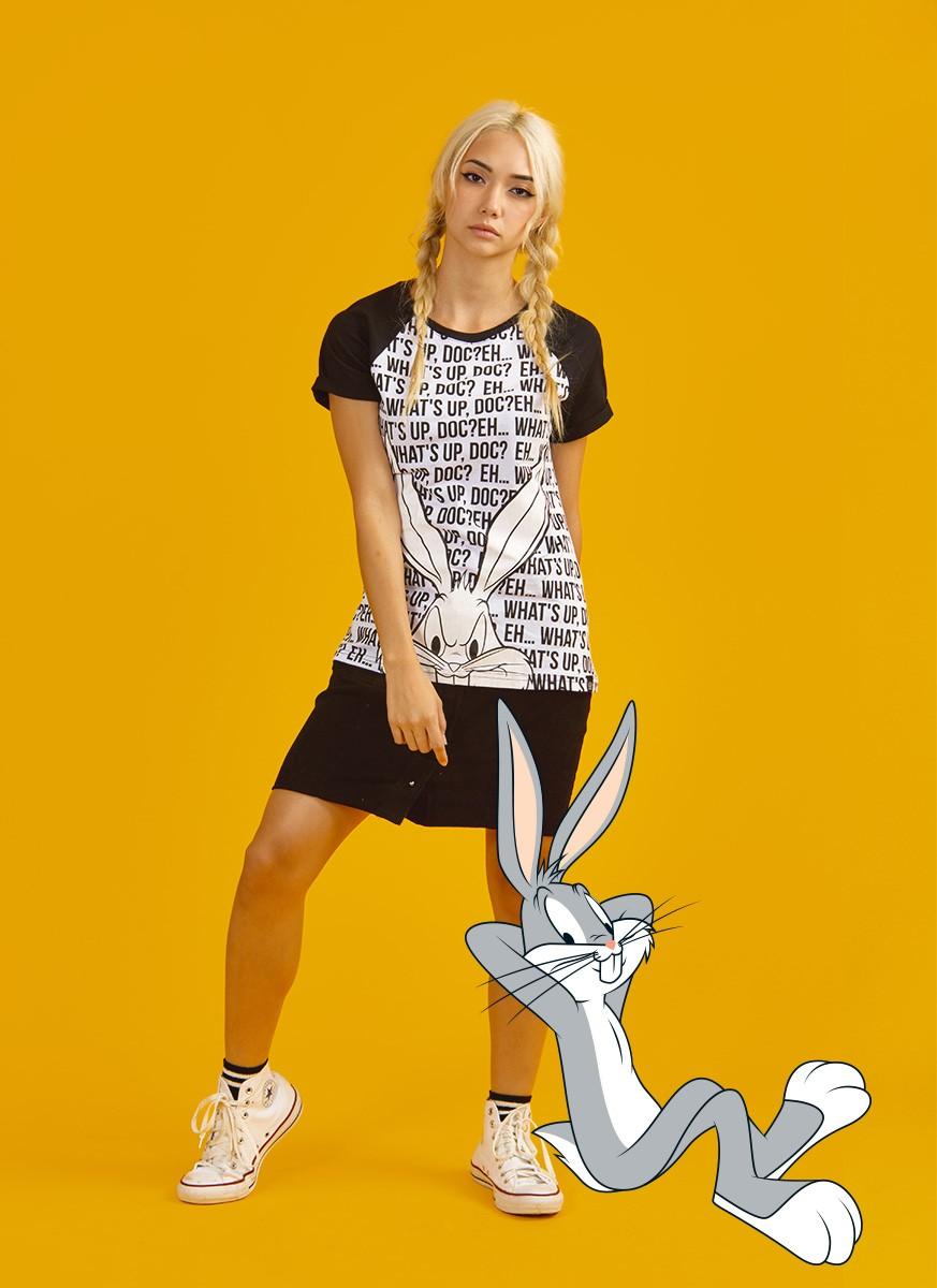 Camiseta Raglan Looney Tunes Pernalonga What's UP Doc?
