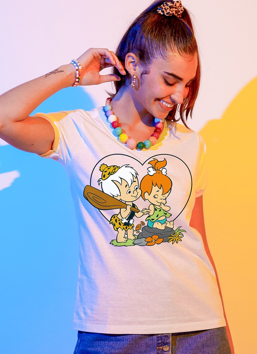 Camiseta Ringer Feminina Os Flintstones Bambam e Pedrita Love